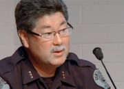 Police Chief Clifford Cook presents an update on the status of Vancouver Police at a council workshop.