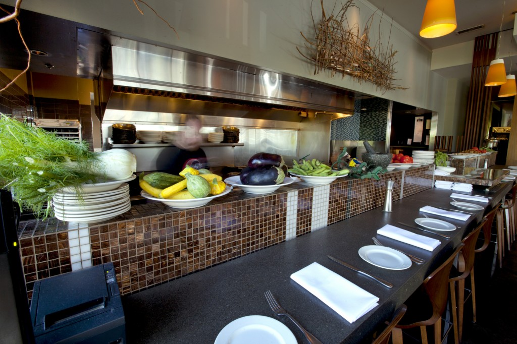 The kitchen area at Roots where fresh local ingredients are incorporated into the menu seasonally.