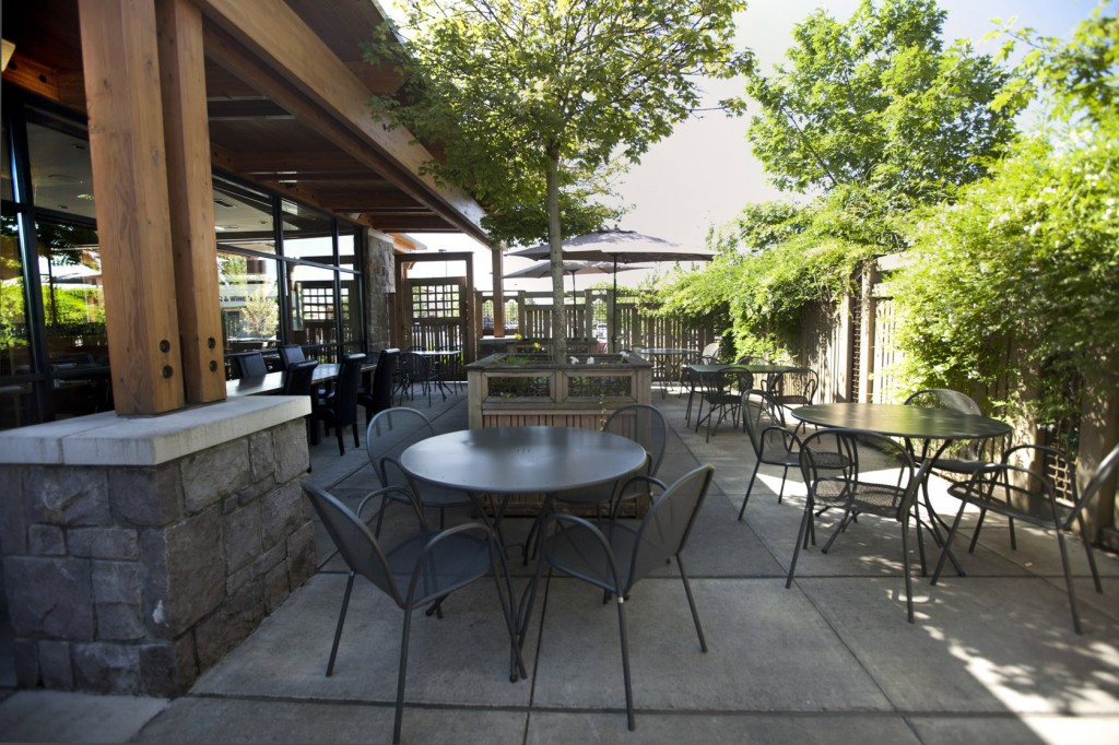 The patio dining area at Roots restaurant.