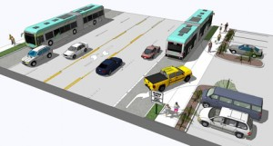 "Bus Rapid Transit Graphic of a ""BAT"" lane courtesy of the Fourth Plain Transit Improvement Project Facebook Page"