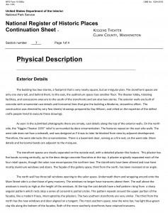 Physical description of the Kiggins Theatre