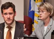 Vancouver Mayor Tim Leavitt and city councelor Jeanne Stewart exchanged terse emails Friday over her allegations of being blackballed from choice committee appointments.