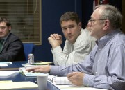 C-Tran Board members Tim Leavitt (left), Bart Hansen, and Tom Mielke discuss the option of an advisory vote on light rail.
