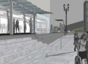 Artist's rendering of a light-rail station.
