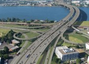 A 2007 rendering shows the curved CRC bridge and proposed interchange at SR 14.