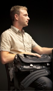Presnell with his black shoulder bag