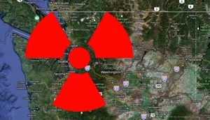 Radiation Symbol over Washington State Map